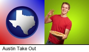 Austin, Texas - a happy teenager holding a take-out pizza