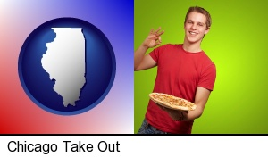 Chicago, Illinois - a happy teenager holding a take-out pizza