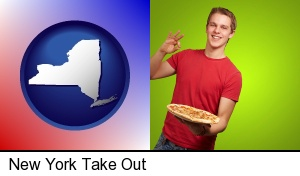 New York, New York - a happy teenager holding a take-out pizza