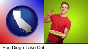 San Diego, California - a happy teenager holding a take-out pizza