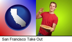 San Francisco, California - a happy teenager holding a take-out pizza