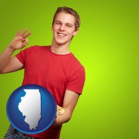 illinois map icon and a happy teenager holding a take-out pizza