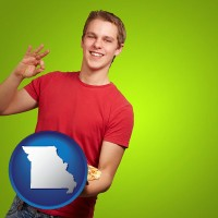 missouri map icon and a happy teenager holding a take-out pizza