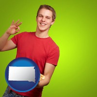 south-dakota map icon and a happy teenager holding a take-out pizza