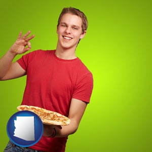 a happy teenager holding a take-out pizza - with Arizona icon
