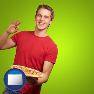 a happy teenager holding a take-out pizza - with Colorado icon