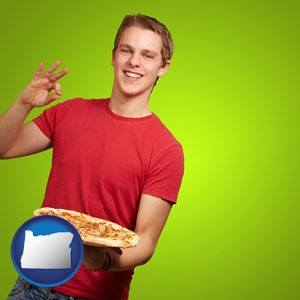a happy teenager holding a take-out pizza - with Oregon icon