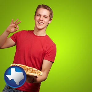 a happy teenager holding a take-out pizza - with Texas icon