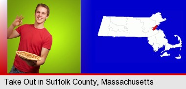 a happy teenager holding a take-out pizza; Suffolk County highlighted in red on a map
